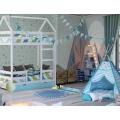 Двухъярусная кровать из массива белая «SCANDI» в виде домика с удобной инструкцией