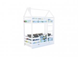 Двухъярусная кровать из массива белая  «SCANDI» в виде домика