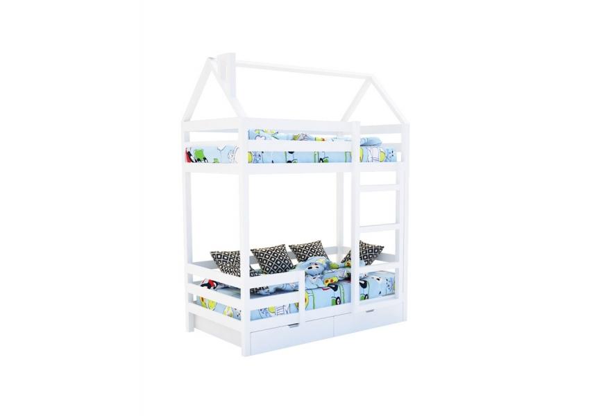 Двухъярусная кровать из массива белая «SCANDI» в виде домика в интернет-магазине