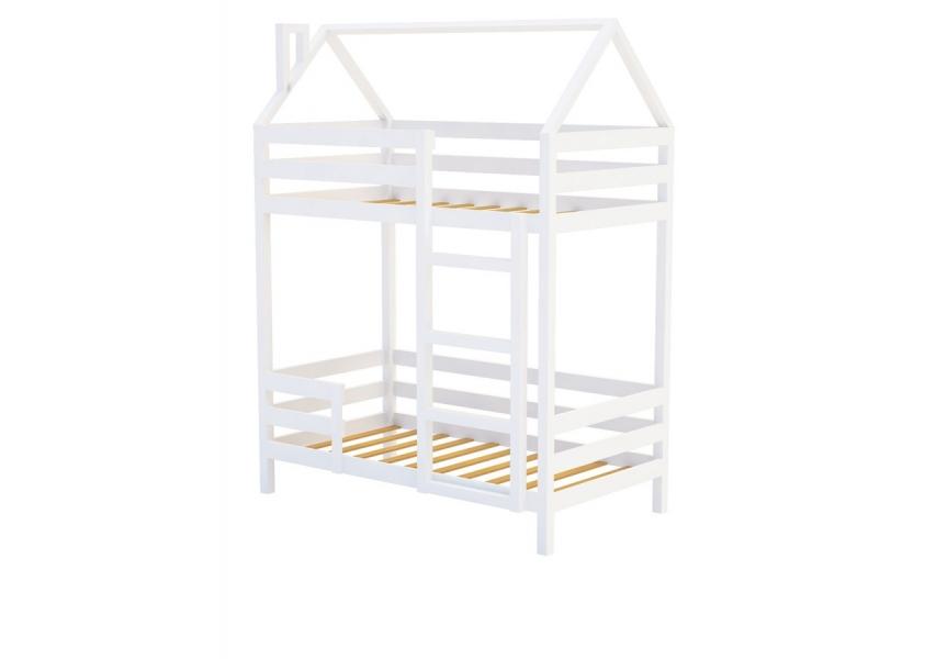 Двухъярусная кровать из массива белая «SCANDI» в виде домика по отличной цене