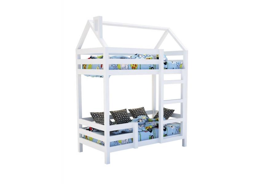 Двухъярусная кровать из массива белая «SCANDI» в виде домика с хорошими отзывами