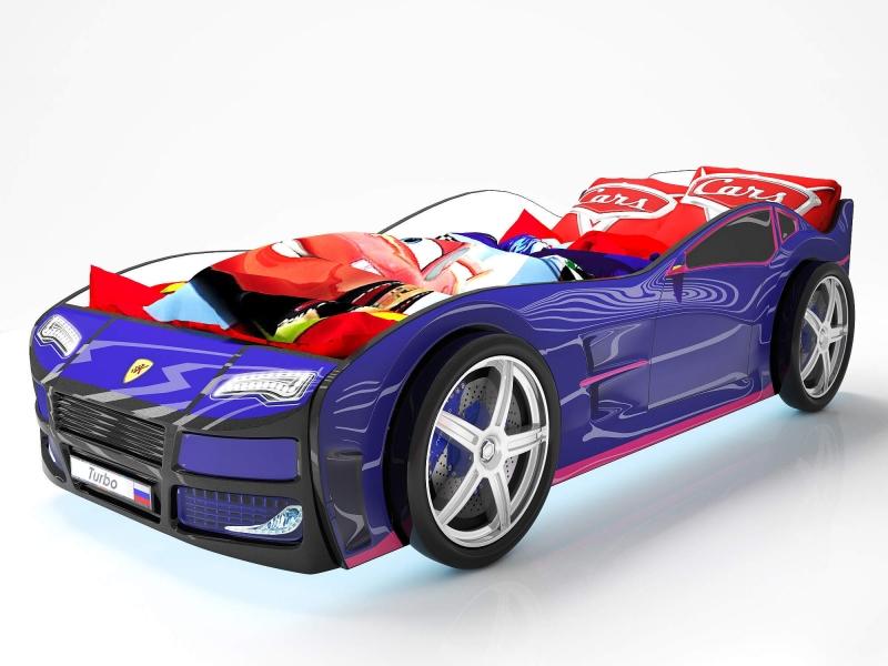 Объемная кровать машина Турбо Синяя с профессиональной сборкой