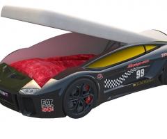 Кровать машина Ламба Next Черная с подъемным механизмом