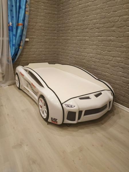 Кровать машина объемная Ламба Next Белая 2 с удобной инструкцией