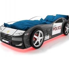 Объемная кровать машина Турбо Полиция Черная