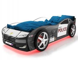 Объемная кровать машина Турбо Полиция Черная купить в наличии в Санкт-Петербурге