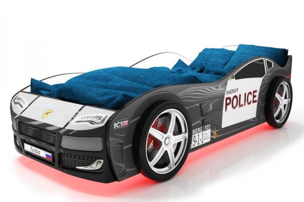 Объемная кровать машина Турбо Полиция Черная в Санкт-Петербурге с доставкой