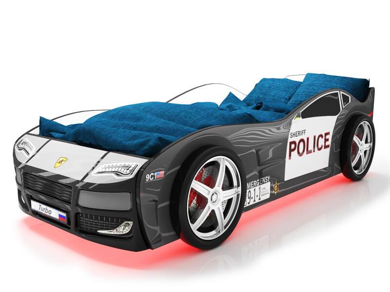 Объемная кровать машина Турбо Полиция Черная по отличной цене