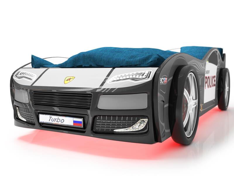 Объемная кровать машина Турбо Полиция Черная с удобной инструкцией