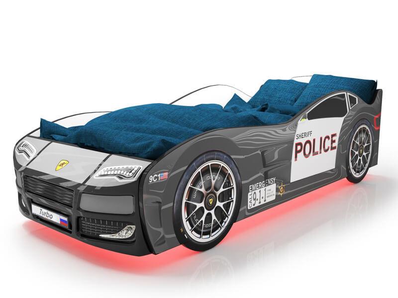 Объемная кровать машина Турбо Полиция Черная с официальной гарантией