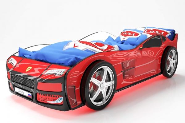Объемная кровать машина Турбо Красная в Санкт-Петербурге с доставкой