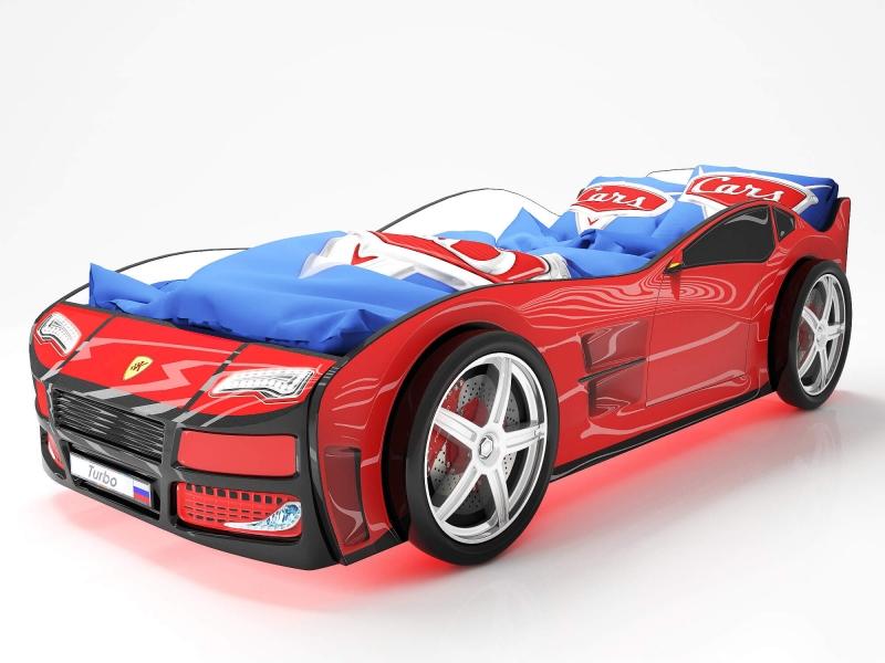 Объемная кровать машина Турбо Красная с профессиональной сборкой