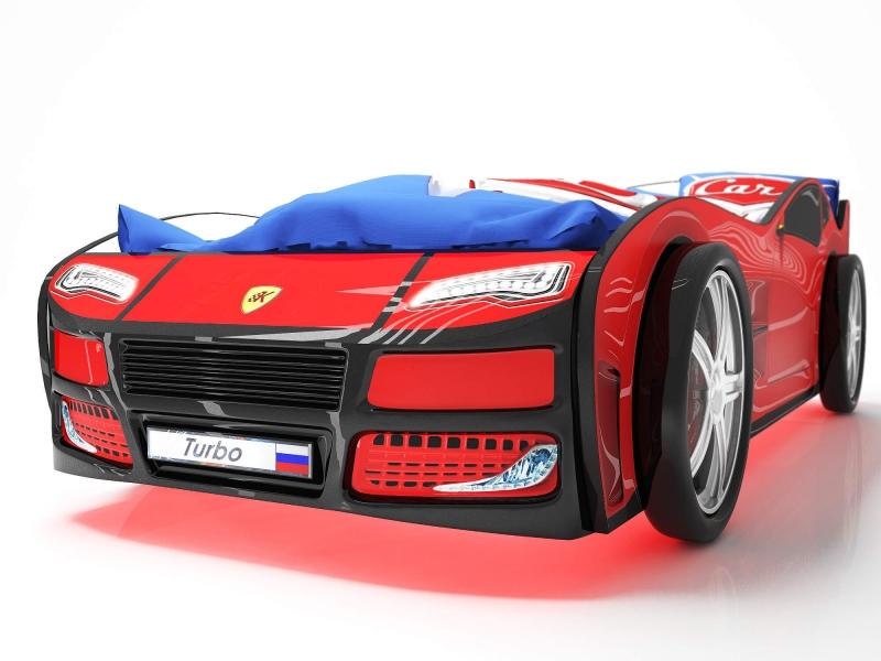 Объемная кровать машина Турбо Красная с официальной гарантией