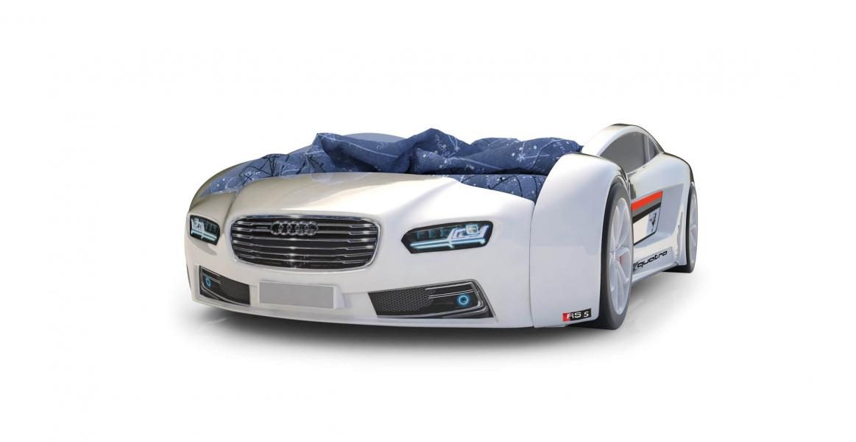 Объемная кровать машина Roadster Ауди Белая с официальной гарантией
