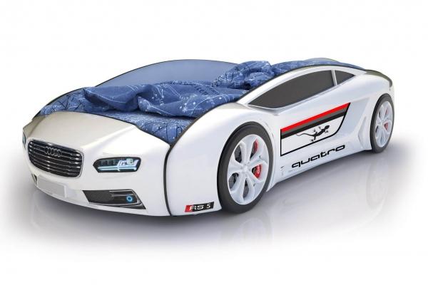 Объемная кровать машина Roadster Ауди Белая в Санкт-Петербурге с доставкой