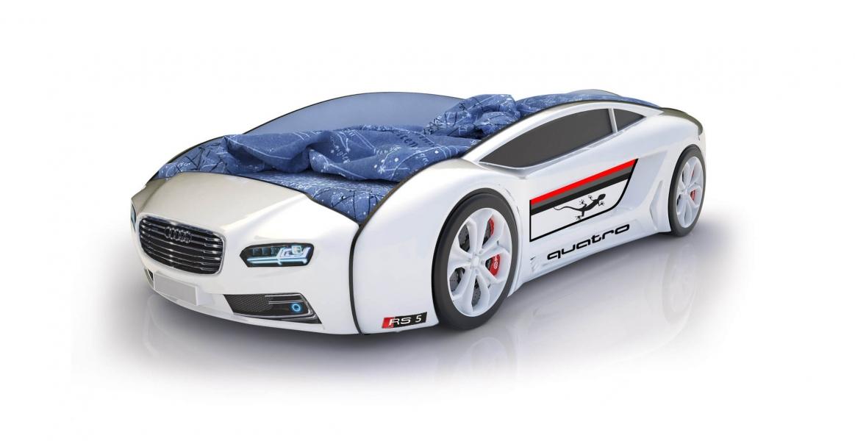 Объемная кровать машина Roadster Ауди Белая без запаха