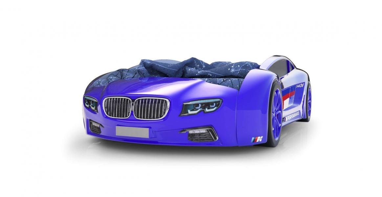 Объемная кровать машина Roadster БМВ Синяя без запаха
