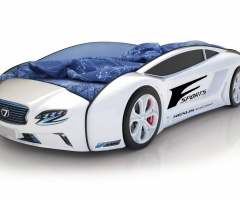 Объемная кровать машина Roadster Лексус Белая
