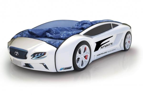 Объемная кровать машина Roadster Лексус Белая в Санкт-Петербурге с доставкой
