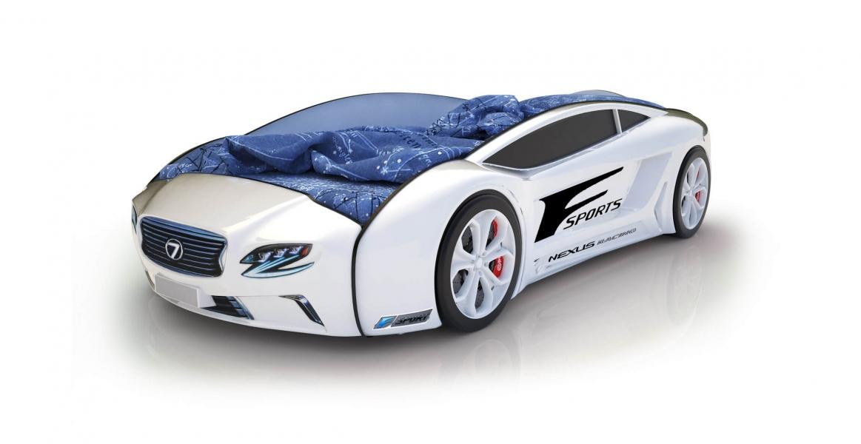 Объемная кровать машина Roadster Лексус Белая без запаха