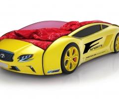 Объемная кровать машина Roadster Лексус Желтая