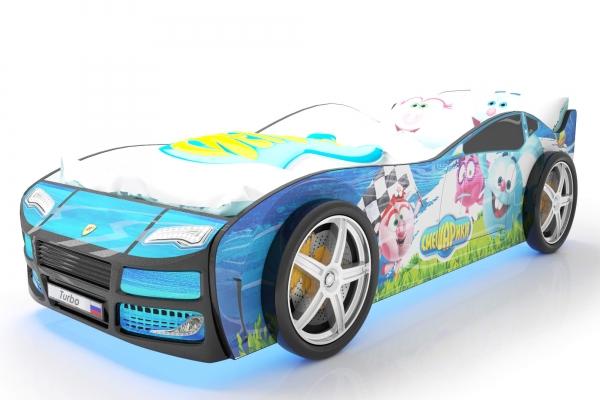 Объемная кровать машина Турбо смешарики синяя в Санкт-Петербурге с доставкой