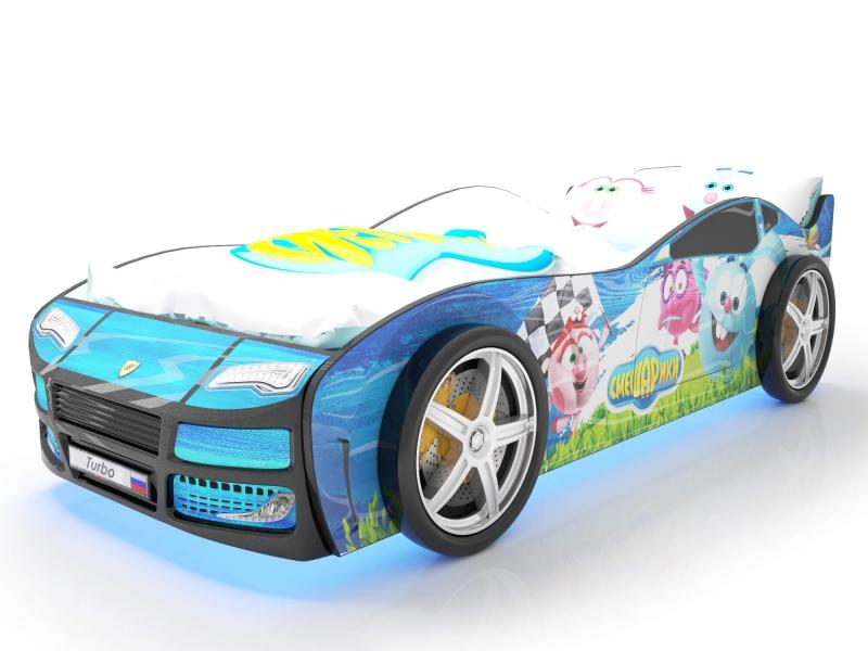 Объемная кровать машина Турбо смешарики синяя с хорошими отзывами