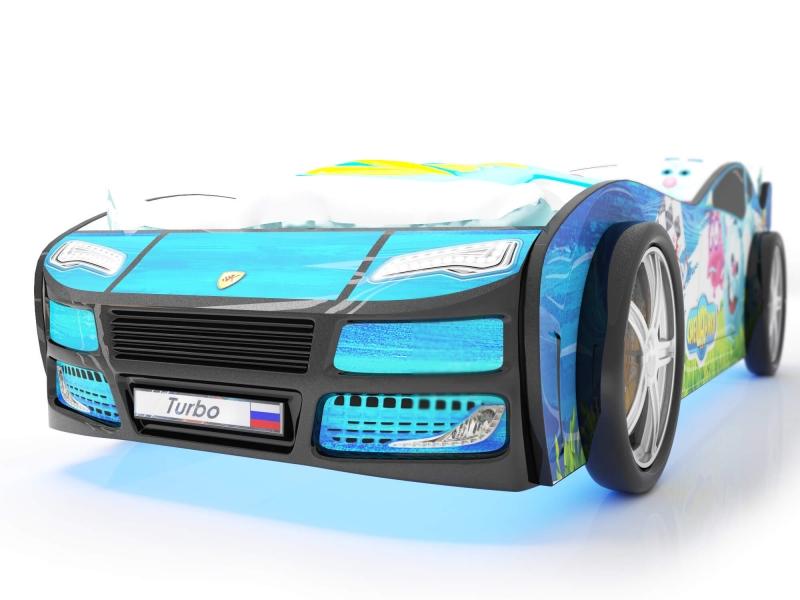 Объемная кровать машина Турбо смешарики синяя с профессиональной сборкой