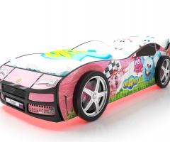 Объемная кровать машина Турбо смешарики розовая