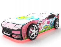 Объемная кровать машина Турбо смешарики розовая купить в наличии в Санкт-Петербурге