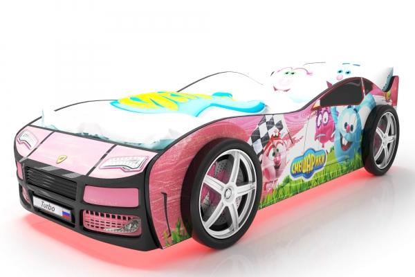 Объемная кровать машина Турбо смешарики розовая в Санкт-Петербурге с доставкой