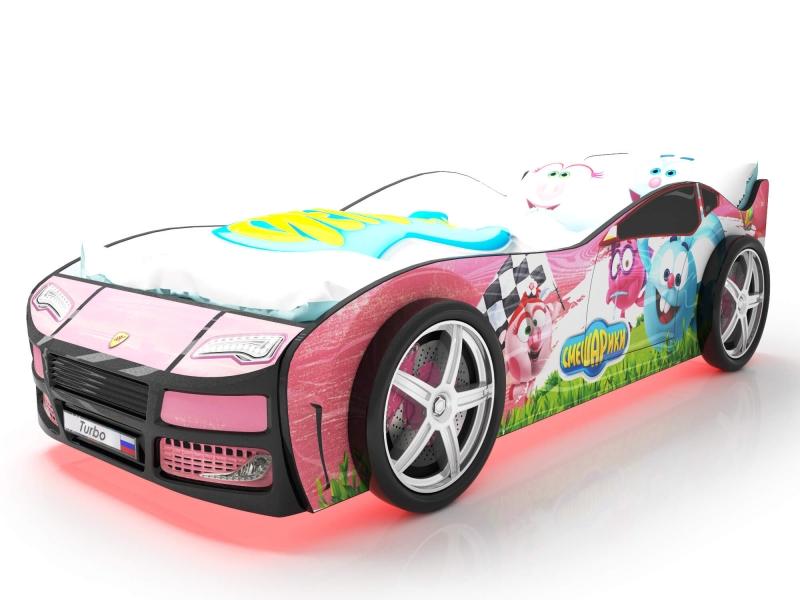 Объемная кровать машина Турбо смешарики розовая с профессиональной сборкой