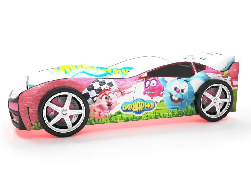 Объемная кровать машина Турбо смешарики розовая с удобной инструкцией