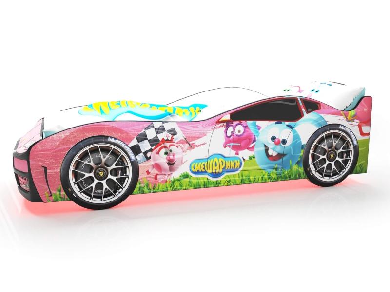 Объемная кровать машина Турбо смешарики розовая по отличной цене