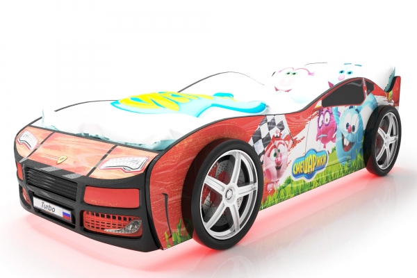 Объемная кровать машина Турбо смешарики красная в Санкт-Петербурге с доставкой