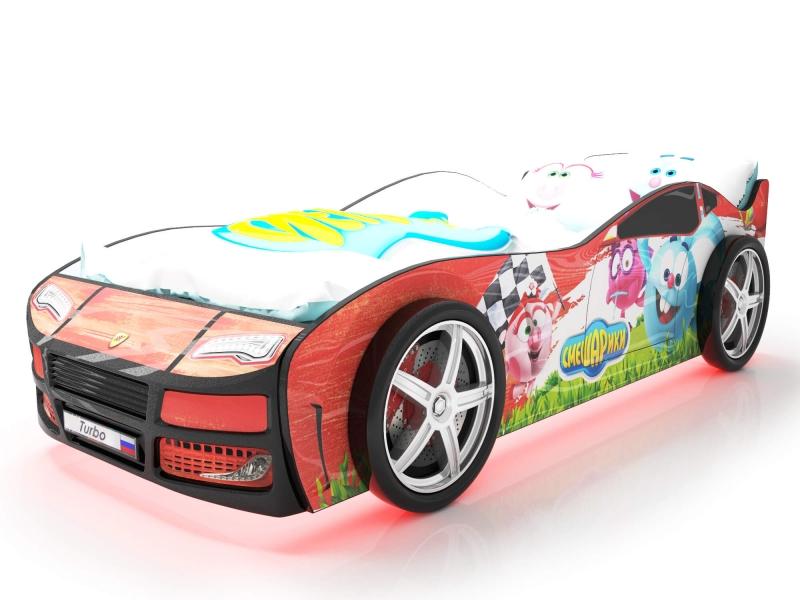 Объемная кровать машина Турбо смешарики красная с профессиональной сборкой