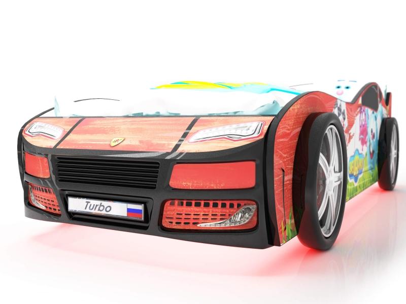 Объемная кровать машина Турбо смешарики красная по отличной цене