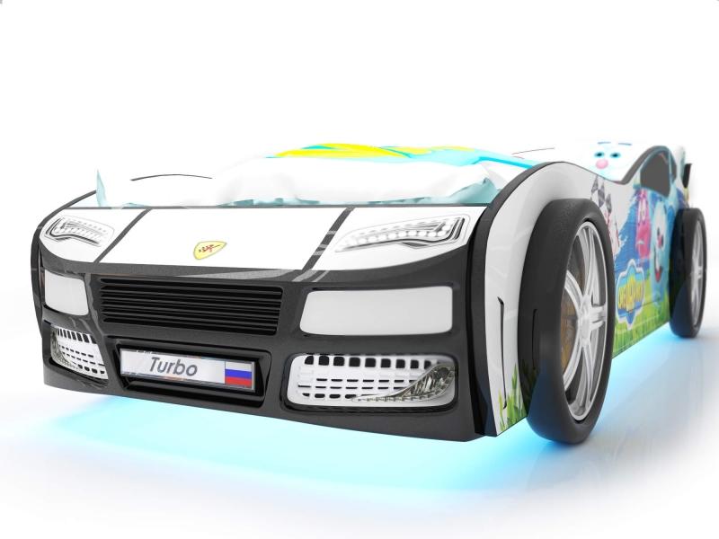 Объемная кровать машина Турбо смешарики белая без запаха