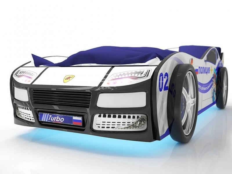 Объемная кровать машина Турбо Полиция по отличной цене