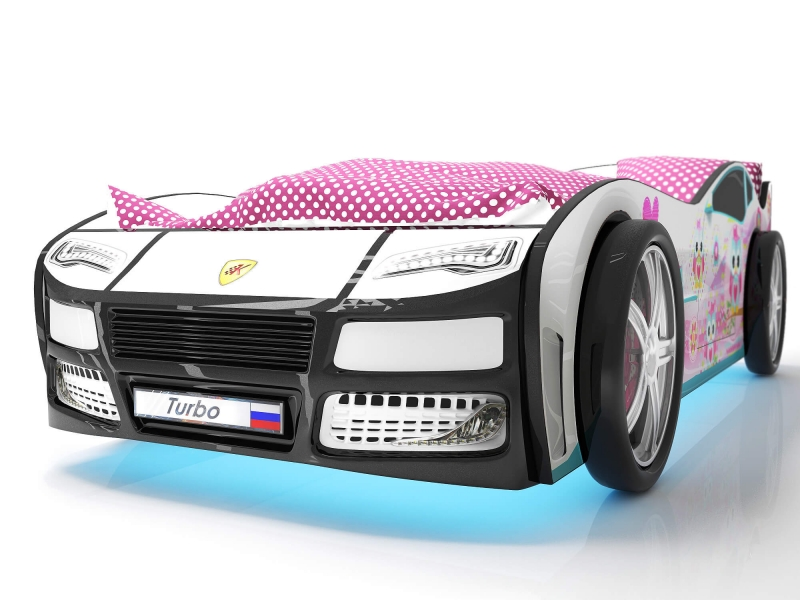 Объемная кровать машина Турбо Белая с профессиональной сборкой