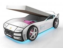 Кровать машина Турбо Белая с подъемным матрасом купить в наличии в Санкт-Петербурге