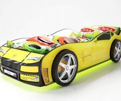 Объемная кровать машина Турбо Желтая