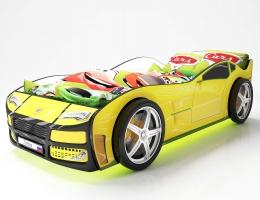 Объемная кровать машина Турбо Желтая купить в наличии в Санкт-Петербурге