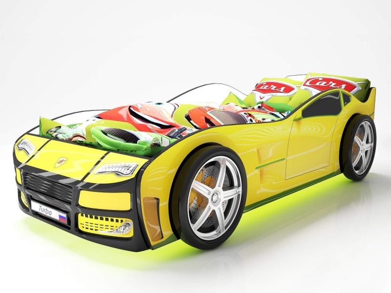 Объемная кровать машина Турбо Желтая в интернет-магазине
