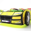 Объемная кровать машина Турбо Желтая с удобной инструкцией