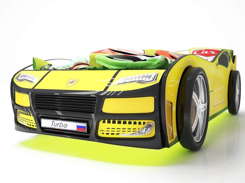 Объемная кровать машина Турбо Желтая с профессиональной сборкой