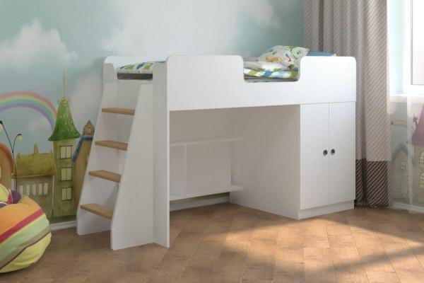 Детская кровать чердак Белая игровая 160*70 в Санкт-Петербурге с доставкой