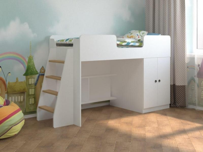 Детская кровать чердак Белая игровая 160*70 по отличной цене