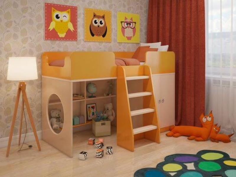 Игровая кровать чердак Апельсин с профессиональной сборкой
