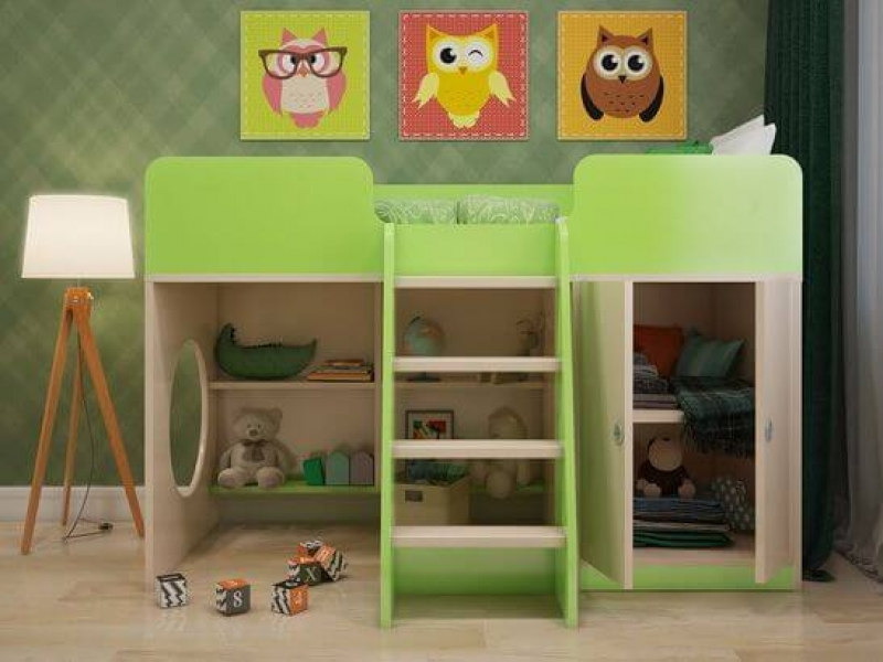 Кровать чердак Зеленая с профессиональной сборкой